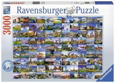 3000 Teile Ravensburger Puzzle 99 Beautiful Places in Europe 17080