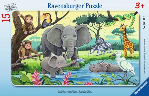 15 Teile Ravensburger Kinder Rahmen Puzzle Tiere Afrikas 06136