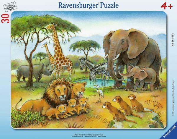 30 Teile Ravensburger Kinder Rahmen Puzzle Afrikas Tierwelt 06146