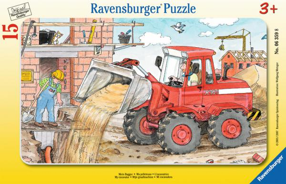 15 Teile Ravensburger Kinder Rahmen Puzzle Mein Bagger 06359