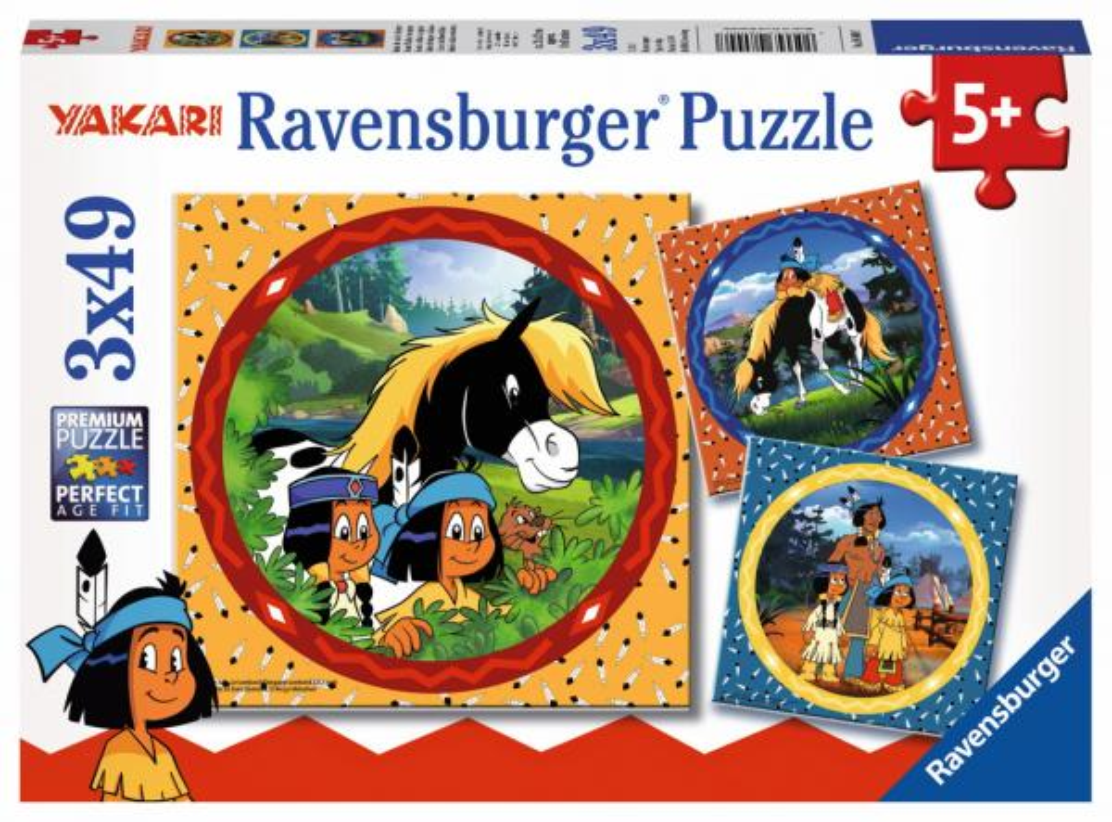 3 x 49 Teile Ravensburger Kinder Puzzle Yakari, der tapfere Indianer 08000