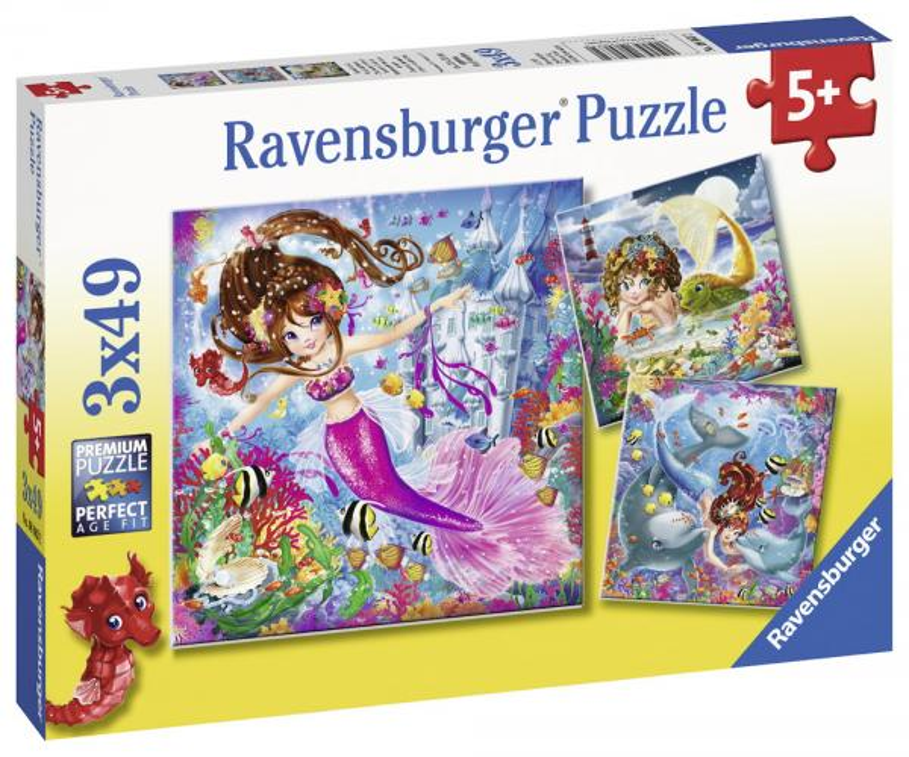 3 X 49 Teile Ravensburger Kinder Puzzle Bezaubernde Meerjungfrauen 08063