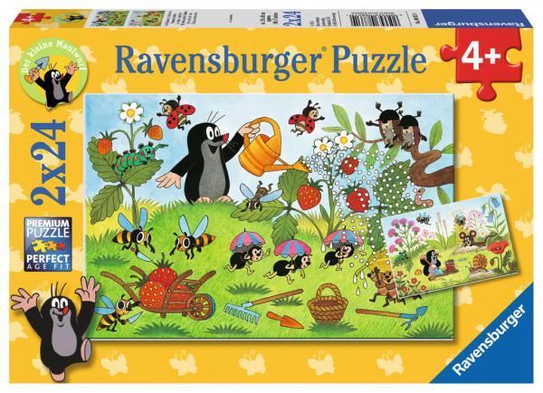 2 x 24 Teile Ravensburger Kinder Puzzle Der Maulwurf im Garten 08861