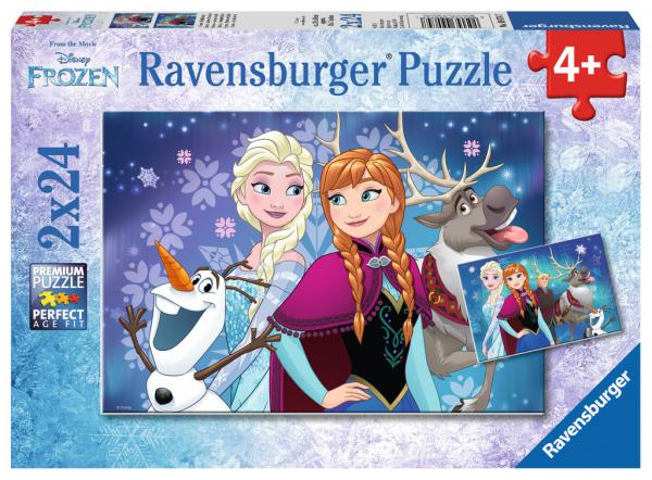 2 x 24 Teile Ravensburger Kinder Puzzle Disney Frozen Nordlichter 09074