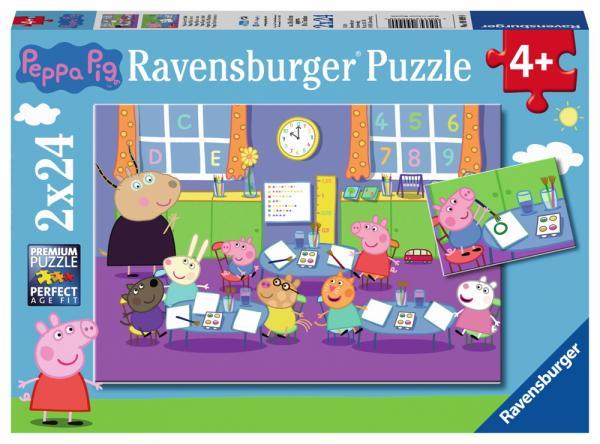 2 X 24 Teile Ravensburger Kinder Puzzle Peppa Pig Peppa in der Schule 09099