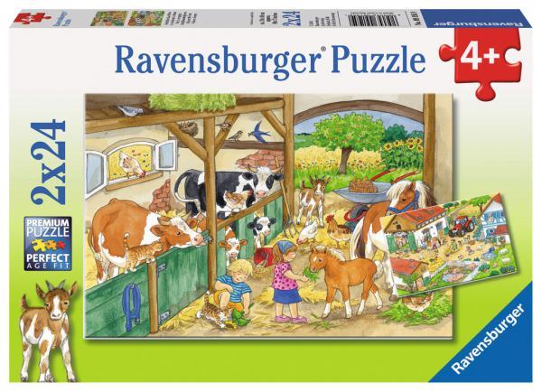 2 x 24 Teile Ravensburger Kinder Puzzle Fröhliches Landleben 09195