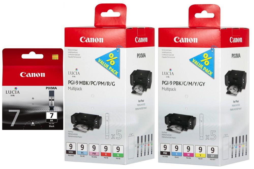 11 Canon Druckerpatronen Tinte PGI-7BK / PGI-9 MBK/PBK/C/M/Y/PM/PC/G/R/GY