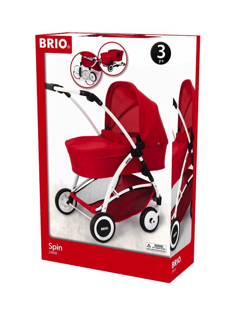 Brio Spielzeug Rollenspiel Puppenwagen Spin rot mit Schwenkräder 63900000