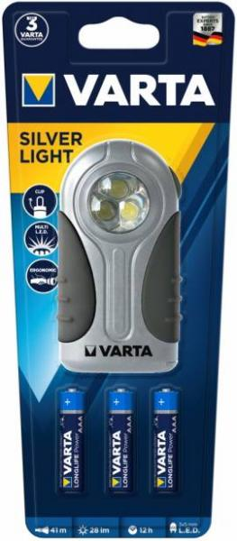 Varta Taschenlampe LED Silver Light inkl. 3x AAA Batterien 16647 16647101421