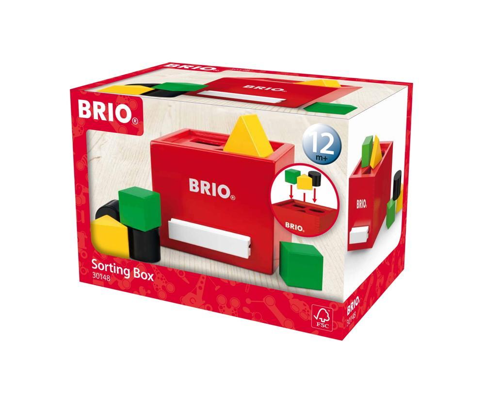 Brio Kleinkindwelt Holz Sortierbox Rote Sortierbox 7 Teile 30148