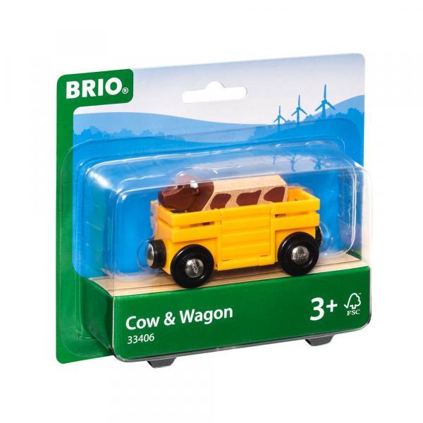 Brio World Eisenbahn Waggon Tierwagen mit Kuh 2 Teile 33406