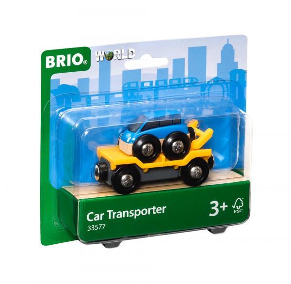 Brio World Eisenbahn Waggon Autotransporter mit Rampe 2 Teile 33577