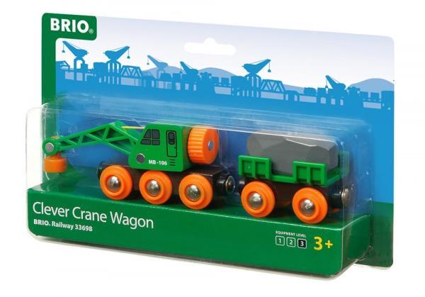 Brio World Eisenbahn Waggon Grüner Kranwagen mit Anhänger und Fracht 4 Teile 33698