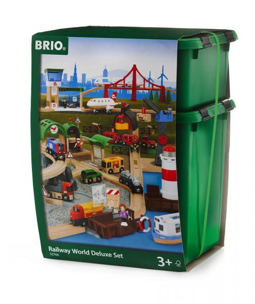 Brio World Eisenbahn Set Großes Premium Set in Kunststoffbox 106 Teile 33766