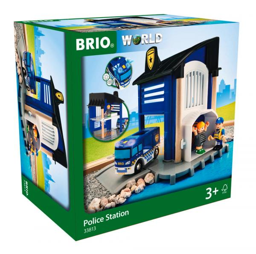 Brio World Eisenbahn Gebäude Polizeistation mit Einsatzfahrzeug 6 Teile 33813