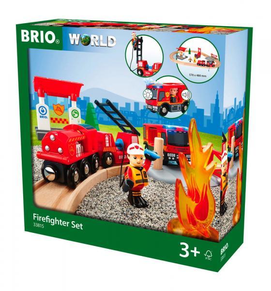 Brio World Eisenbahn Set Bahn Feuerwehr Set 18 Teile 33815