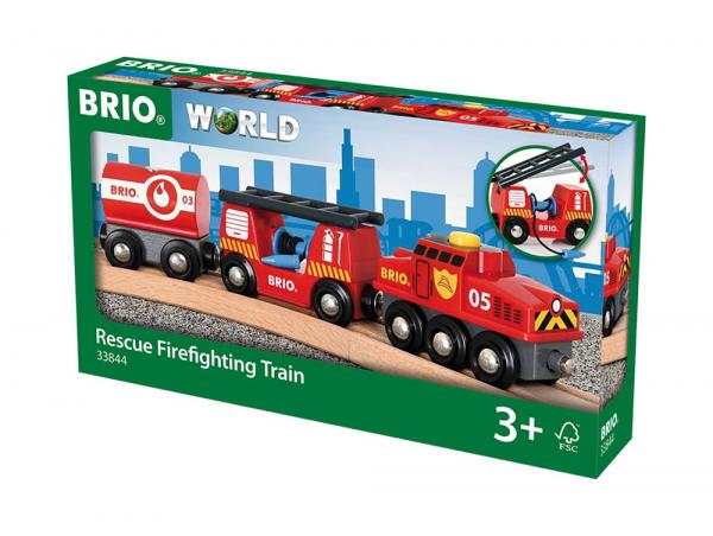 Brio World Eisenbahn Zug Feuerwehr Löschzug 4 Teile 33844