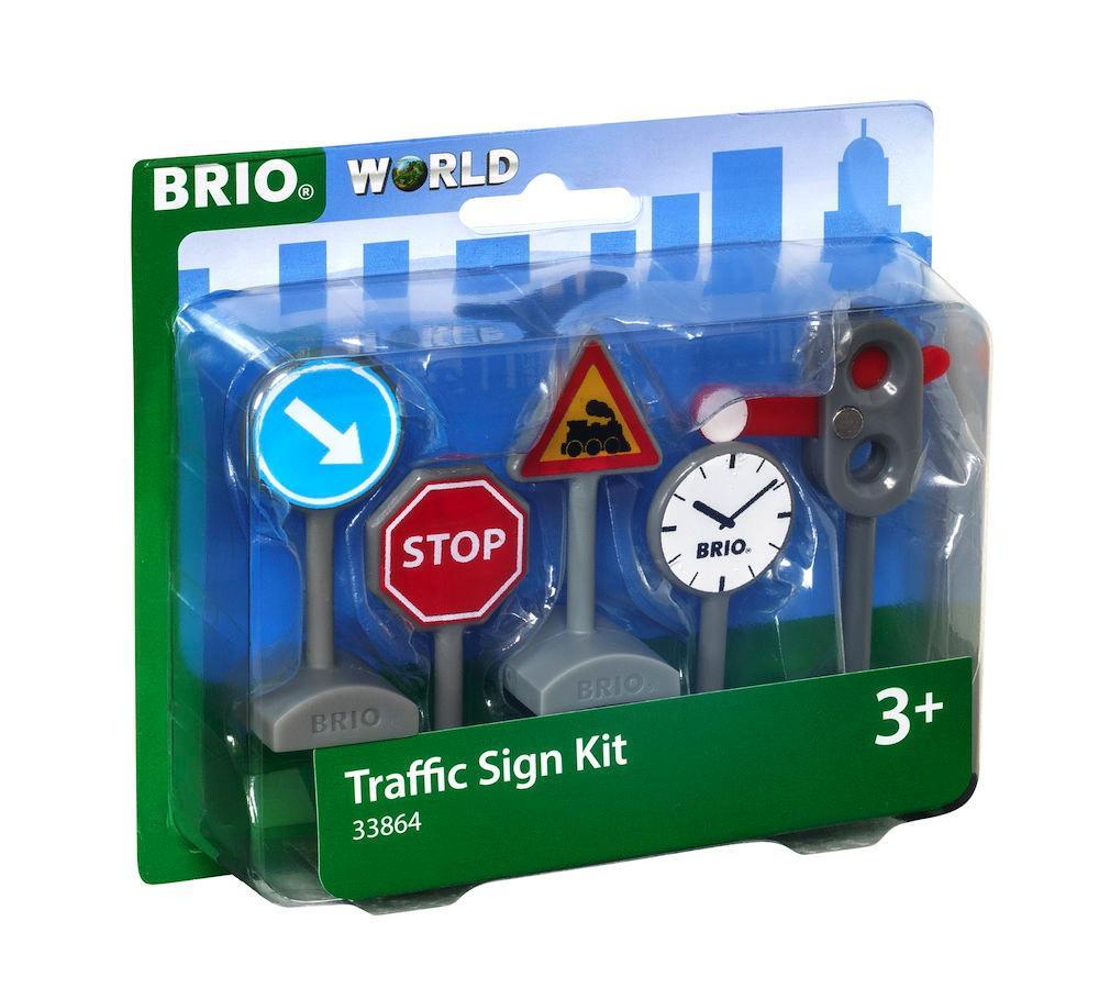 Brio World Eisenbahn Zubehör Verkehrszeichen Set 5 Teile 33864