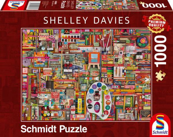 1000 Teile Schmidt Spiele Puzzle Shelley Davies Vintage Künstlermaterialien 59698