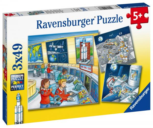 3 x 49 Teile Ravensburger Kinder Puzzle Auf Weltraummission mit Tom 05088