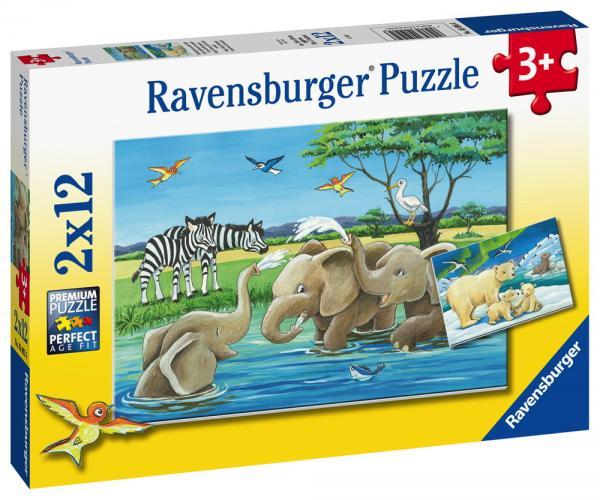 2 x 12 Teile Ravensburger Kinder Puzzle Tierkinder aus aller Welt 05095