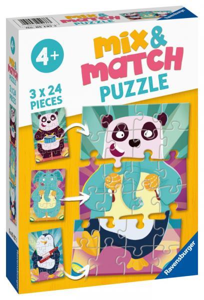 3 x 24 Teile Ravensburger Kinder Puzzle Mix & Match Witzige Tiere 05137