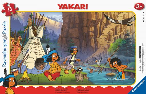 15 Teile Ravensburger Kinder Rahmen Puzzle Yakari Camping mit Freunden 05141