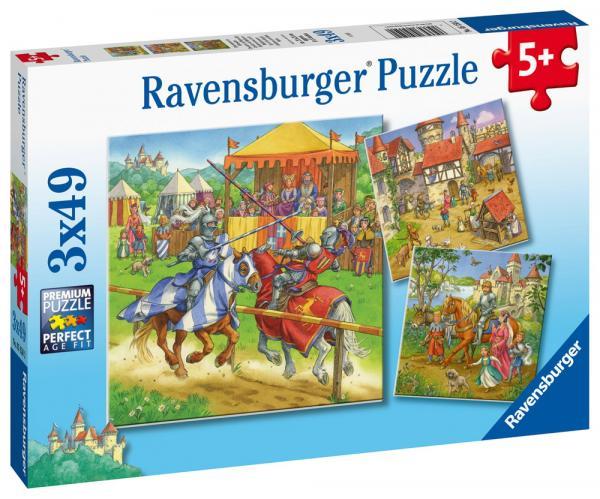 3 x 49 Teile Ravensburger Kinder Puzzle Ritterturnier im Mittelalter 05150