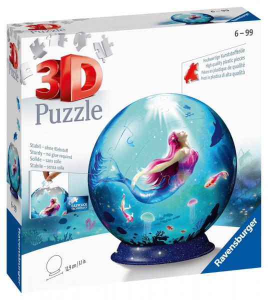 72 Teile Ravensburger 3D Puzzle Ball Bezaubernde Meerjungfrauen 11250