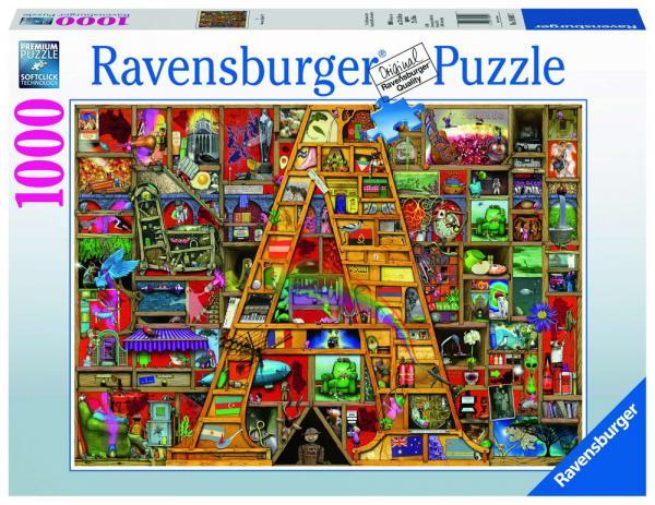 "1000 Teile Ravensburger Puzzle Awesome Alphabet ""A"" 19891"