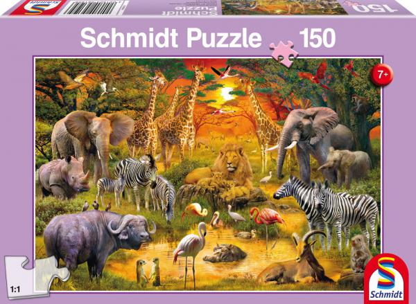 150 Teile Schmidt Spiele Kinder Puzzle Tiere in Afrika 56195