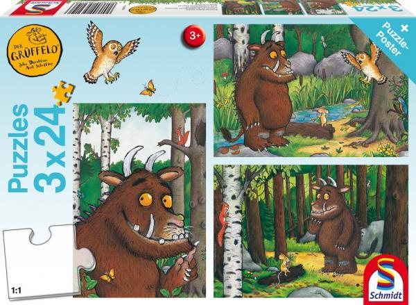 3 x 24 Teile Schmidt Spiele Kinder Puzzle Der Grüffelo Mein Freund der Grüffelo 56210