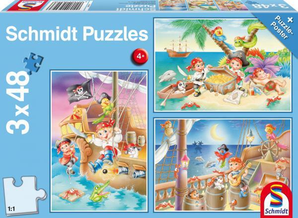 3 x 48 Teile Schmidt Spiele Kinder Puzzle Piratenbande 56223