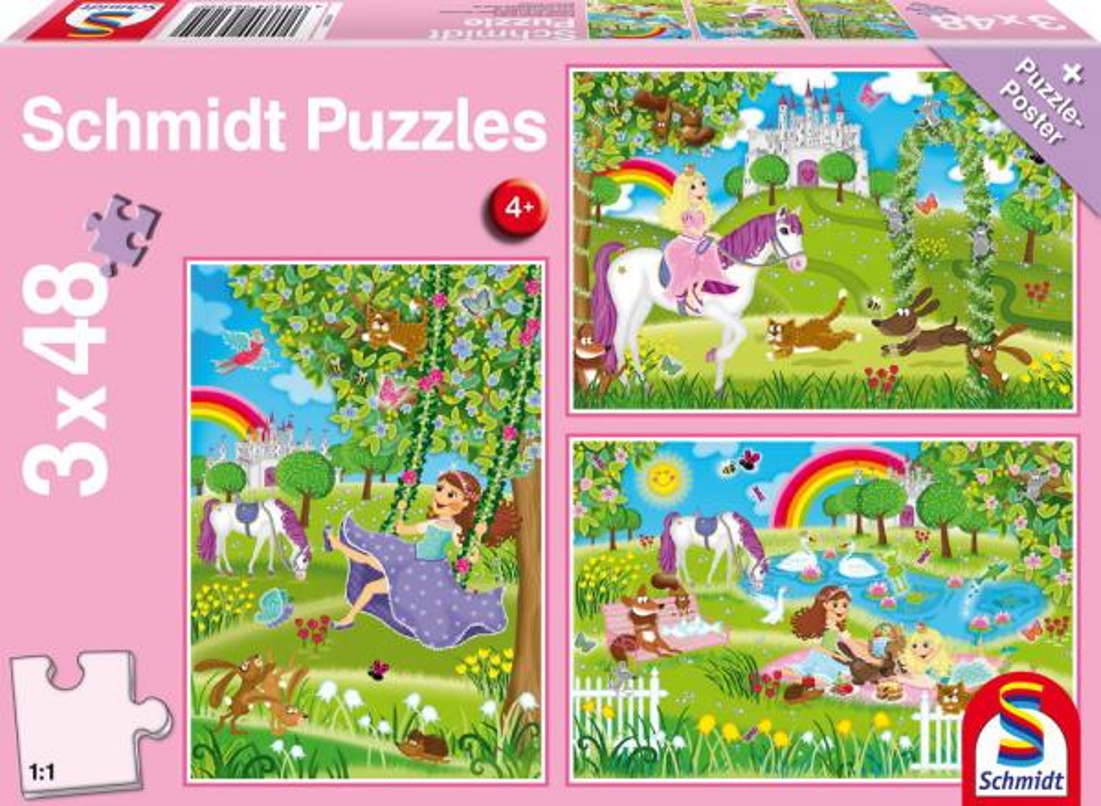 3 x 48 Teile Schmidt Spiele Kinder Puzzle Prinzessin im Schlossgarten 56225