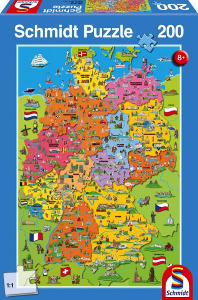 200 Teile Schmidt Spiele Kinder Puzzle Deutschlandkarte mit Bildern 56312