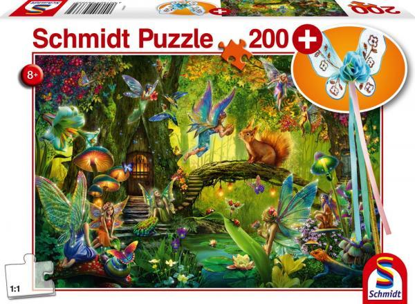 200 Teile Schmidt Spiele Kinder Puzzle Feen im Wald mit Feenstab 56333