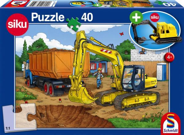 40 Teile Schmidt Spiele Kinder Puzzle Bagger mit SIKU Modell 56350