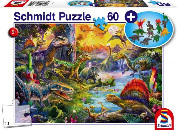 60 Teile Schmidt Spiele Kinder Puzzle Dinosaurier mit Figuren 56372