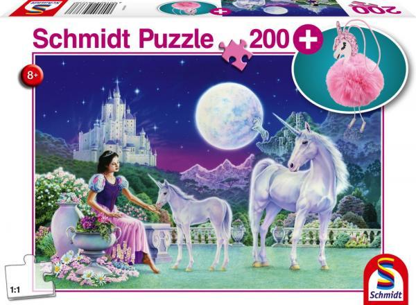 200 Teile Schmidt Spiele Kinder Puzzle Einhorn mit Puschel Anhänger 56373