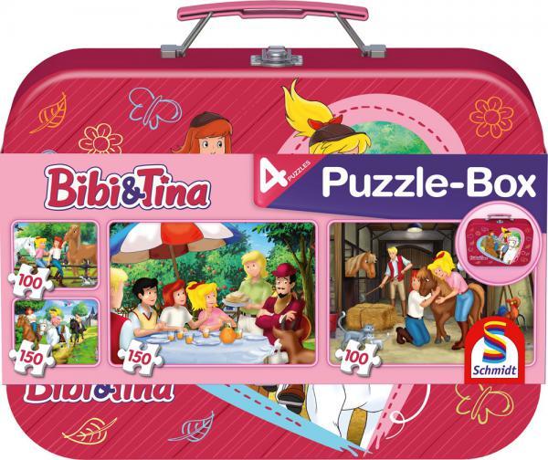 2 x 100 + 2 x 150 Teile Schmidt Spiele Kinder Puzzle Bibi & Tina Puzzle-Box Metallkoffer 56509