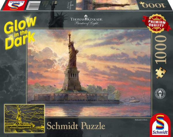 1000 Teile Schmidt Spiele Puzzle Thomas Kinkade Glow in the Dark Freiheitsstatue 59498