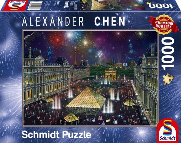 1000 Teile Schmidt Spiele Puzzle Alexander Chen Feuerwerk am Louvre 59648