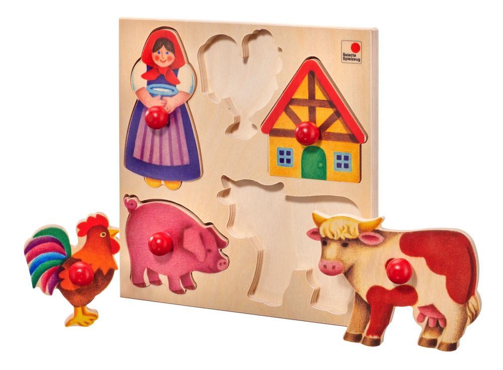 5 Teile Selecta Kleinkindwelt Holz Kinder Puzzle Bauernhof 62045