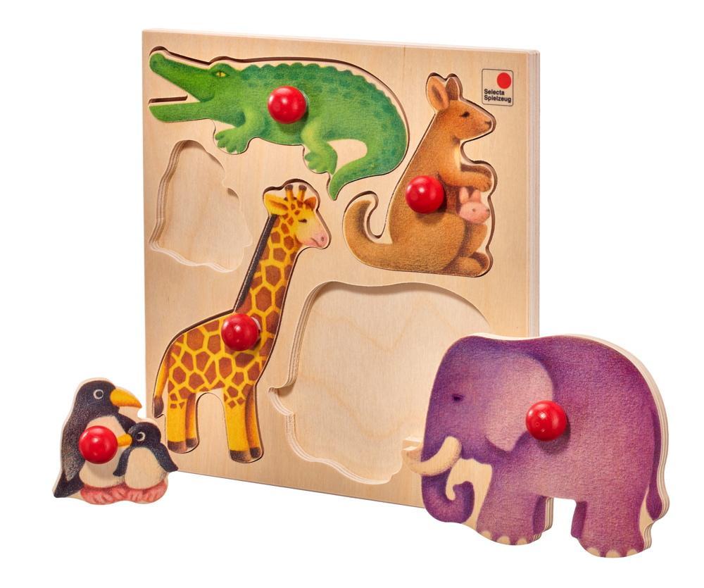 5 Teile Selecta Kleinkindwelt Holz Kinder Puzzle Zoo 62046
