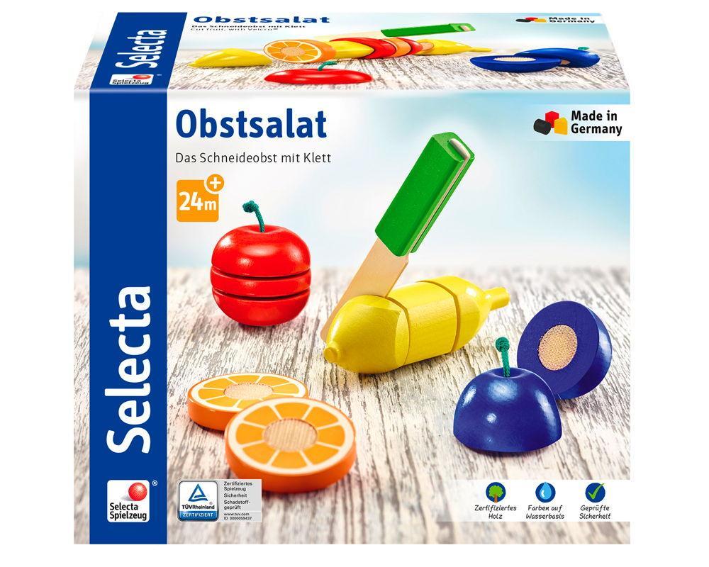 Selecta Kleinkindwelt Holz Obstsalat Das Schneideobst mit Klett 62070