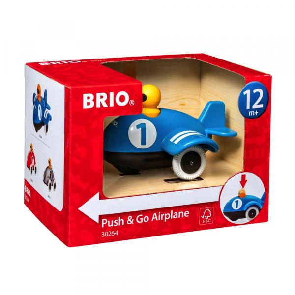 Brio Kleinkindwelt Holz Rollspielzeug Push & Go Flugzeug 30264