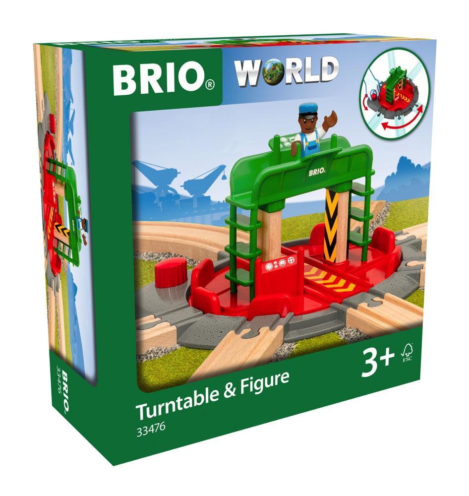 Brio World Eisenbahn Zubehör Lok-Drehscheibe mit Kontrollbrücke 2 Teile 33476