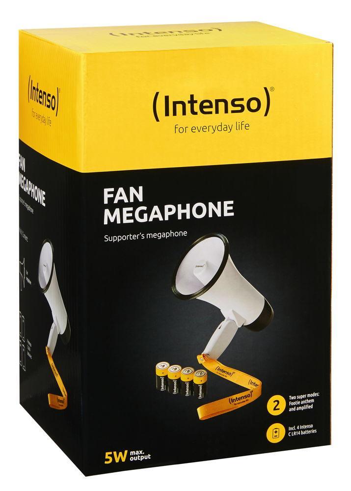 Intenso Fan Megafon inklusive 4x 1,5V Baby Batterien Typ C 115 Dezibel weiß 9504001