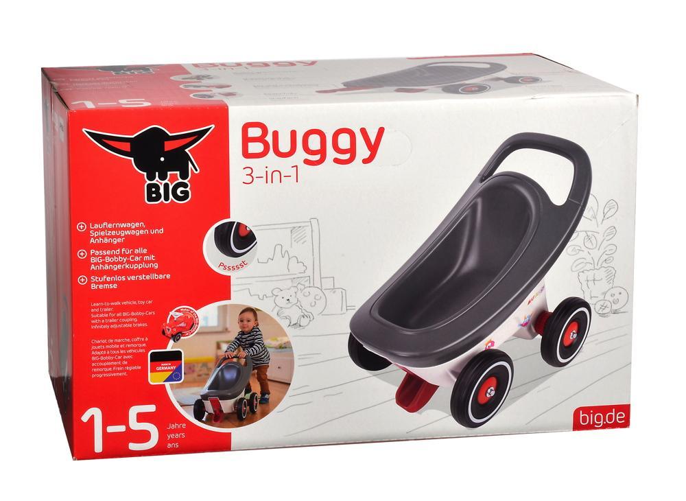 BIG Kleinkind 3in1 Lauflernwagen, Spielzeugwagen und Anhänger Bobby Car Buggy rot 800056255