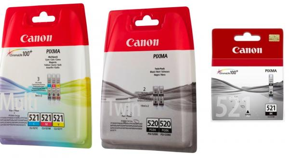 6 Canon Druckerpatronen Tinte 2x PGI-520 BK / CLI-521 BK / C / M / Y Multipack